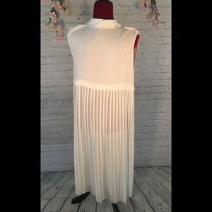 Lush White Pleated Duster Vest